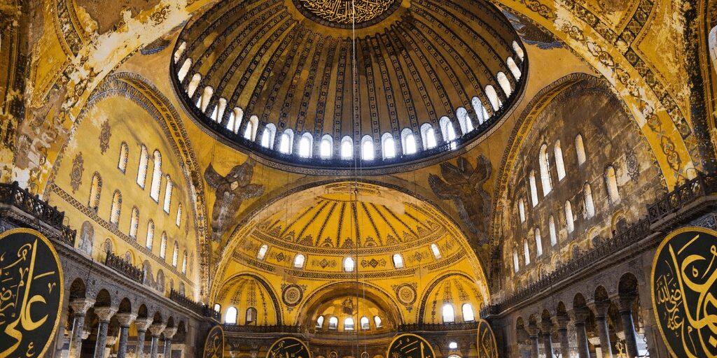 Gold ceiling at Hagia Sophia
