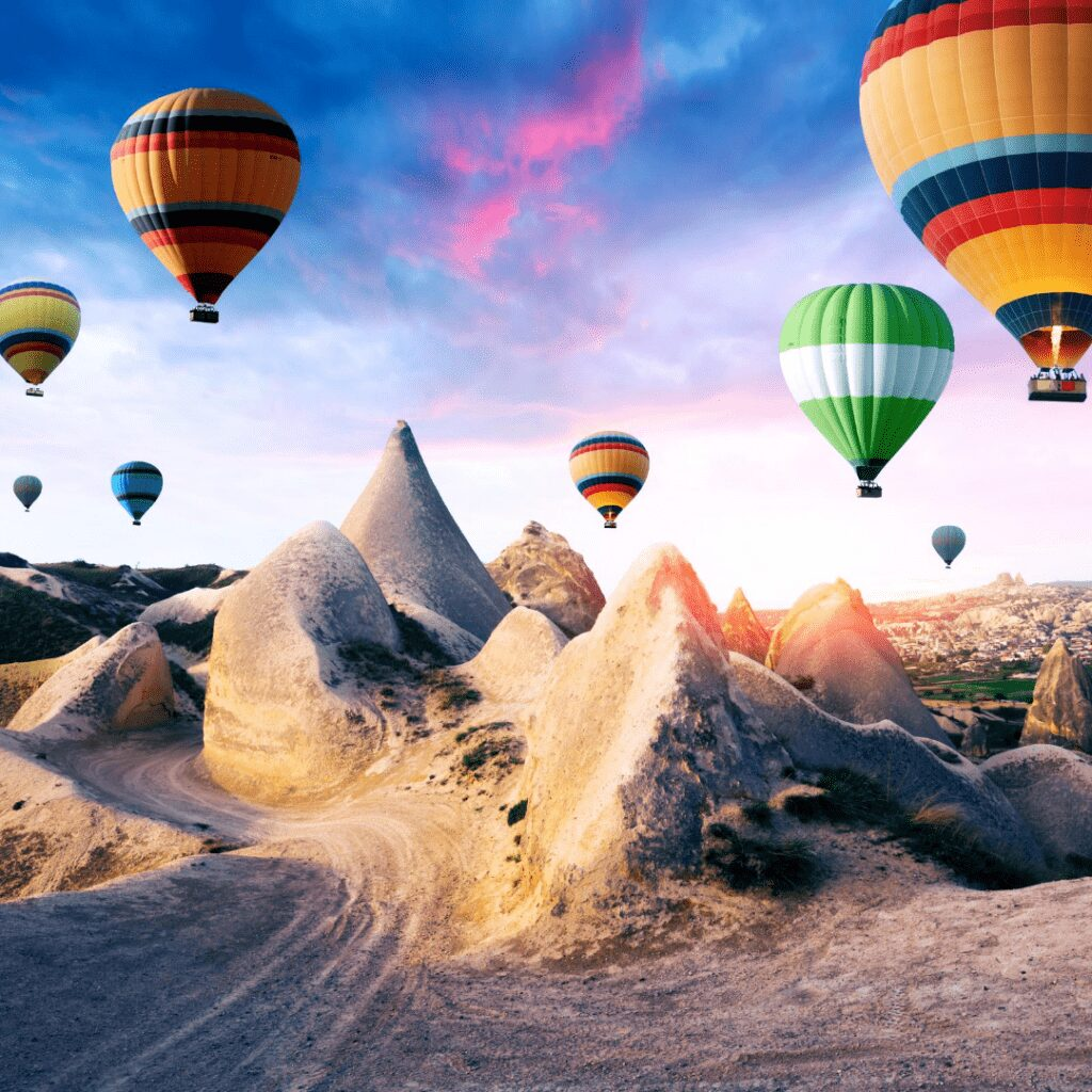 Best Turkey Holiday Destinations   colourful Hot air ballon over fairy chinmeys in Cappadocia