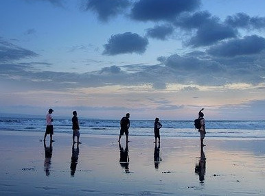 Family travel on Beach in Bali